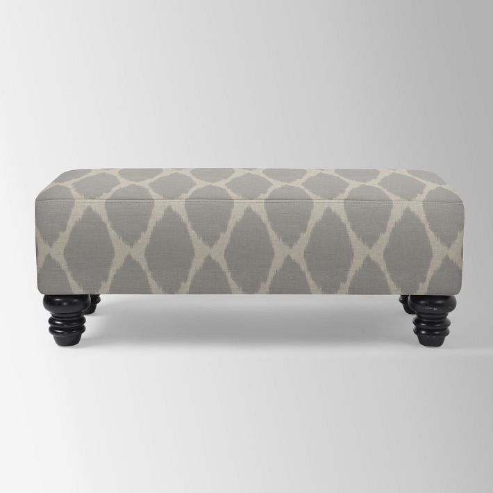 Essex Upholstered Bench, Ikat Gray/Flax