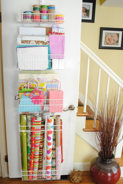 Coat Closet And Wrapping Paper Organization The