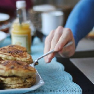 Blueberry Wheat Germ Pancakes with Lemon Curd
