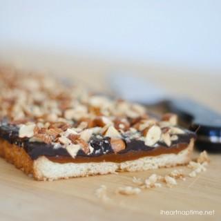 Dark Chocolate & Caramel Tart with Salted Almonds