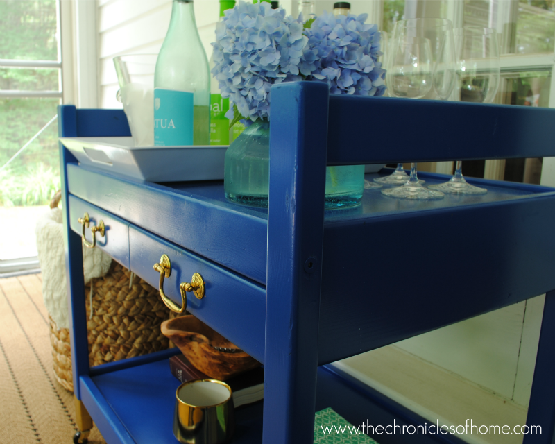 Brass & Blue Drink Cart - The Chronicles of Home