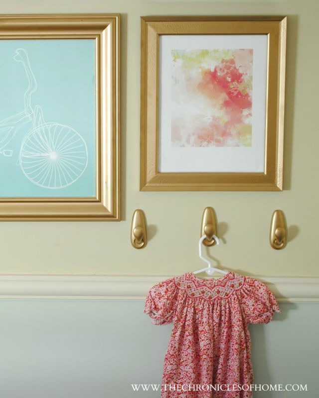 small gallery wall in a big girl bedroom