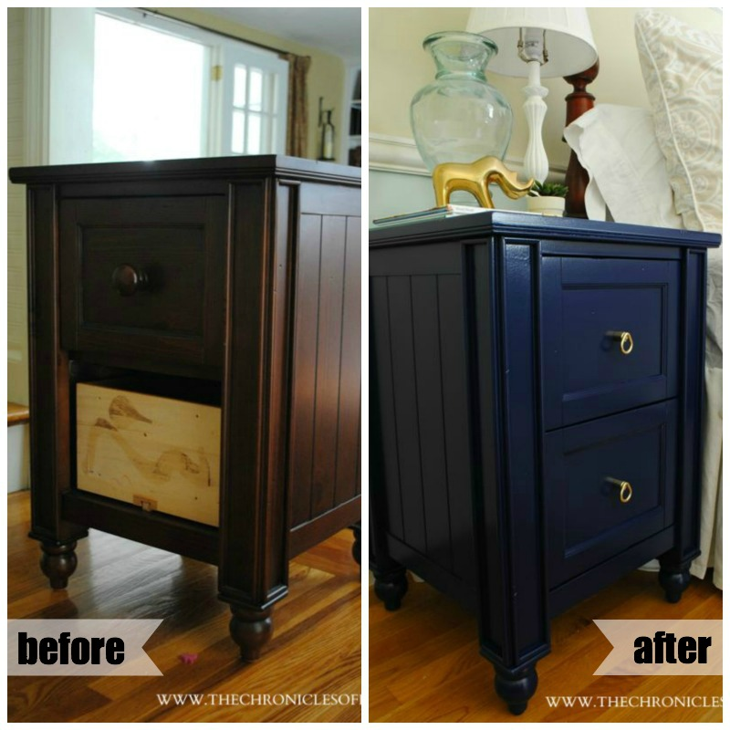 Navy Blue Nightstand (Dresser) Makeover