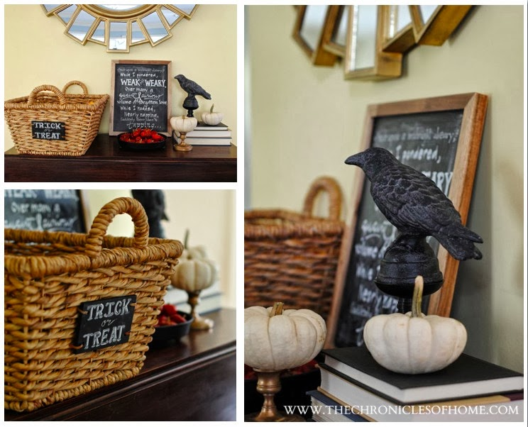 the raven figure was a target purchase and while he looks perfectly fine as the black raven he is intended to be who are we kidding - Target Halloween Decorations