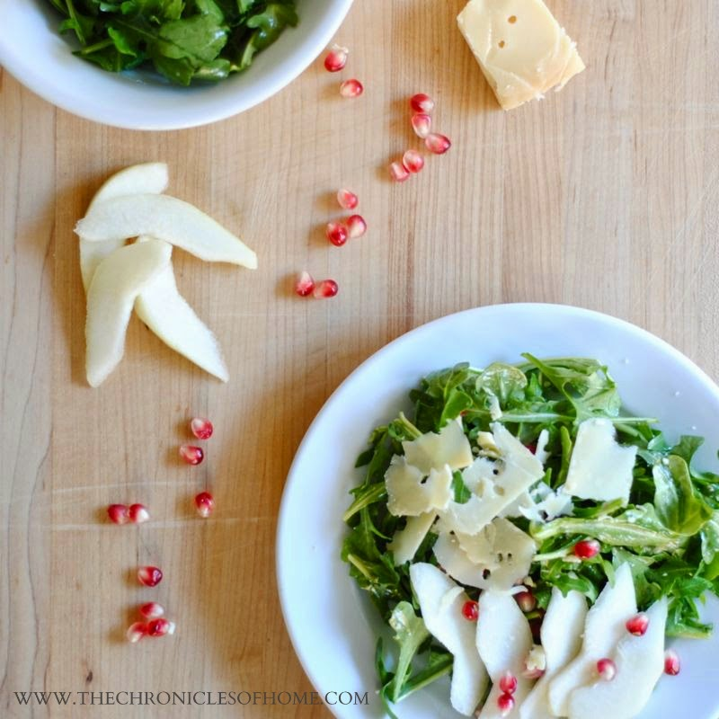 Arugula, pear, and pomegranate salad from The Chronicles of Home