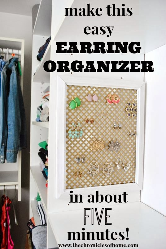 The Chronicles of Home - easy earring organizer you can make at home in about five minutes!