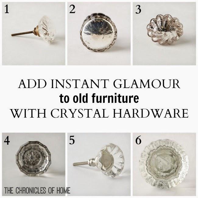 Crystal hardware favorites to update old furniture
