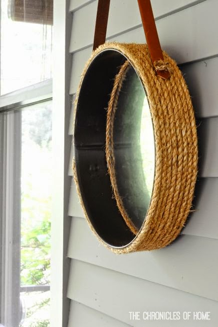 Make a DIY rope mirror from a round tray by The Chronicles of Home