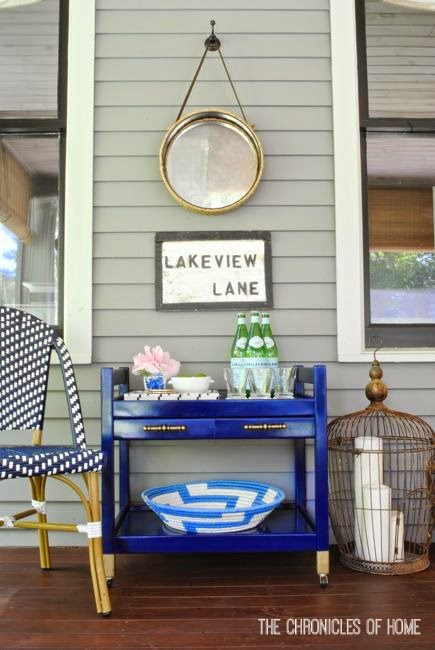 DIY navy blue bar cart and rope mirror by The Chronicles of Home