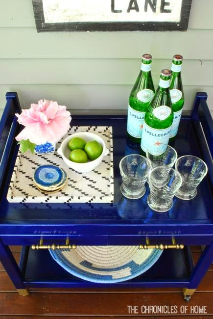 DIY navy blue bar cart by The Chronicles of Home