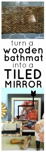Take a plain old bamboo bathmat and turn it into a gold-leafed tiled mirror frame!  The Chronicles of Home shows you how.