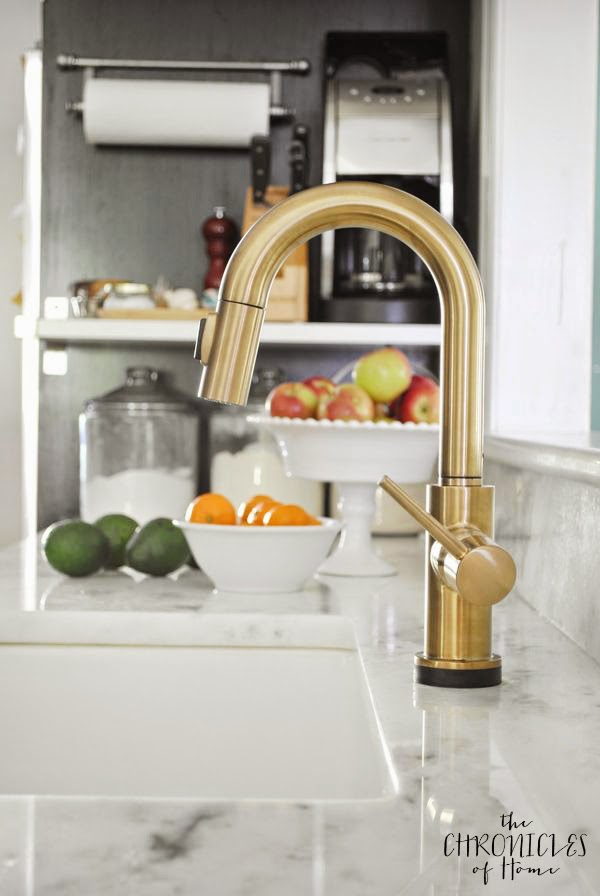 Brushed Gold Kitchen Faucet With Touch On And Off Feature