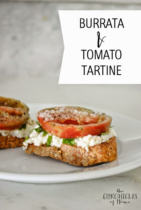 burrata (fresh mozzarella + cream) and tomato tartine - so easy, soooo good