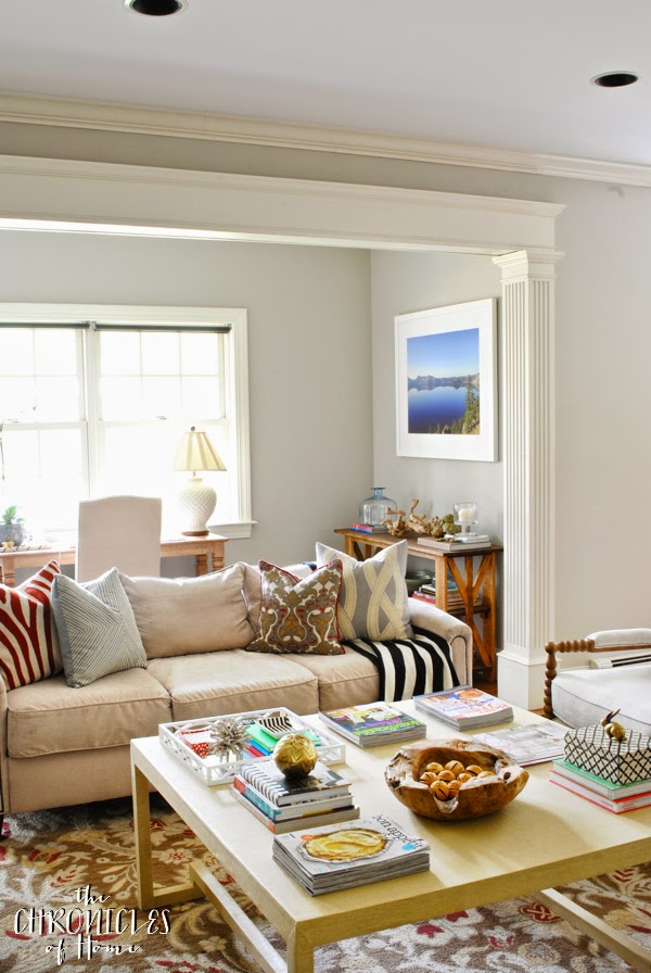 Soft and neutral family room with DIY Greek key leg coffee table.