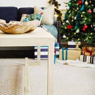 DIY Lacquered Grasscloth Coffee Table