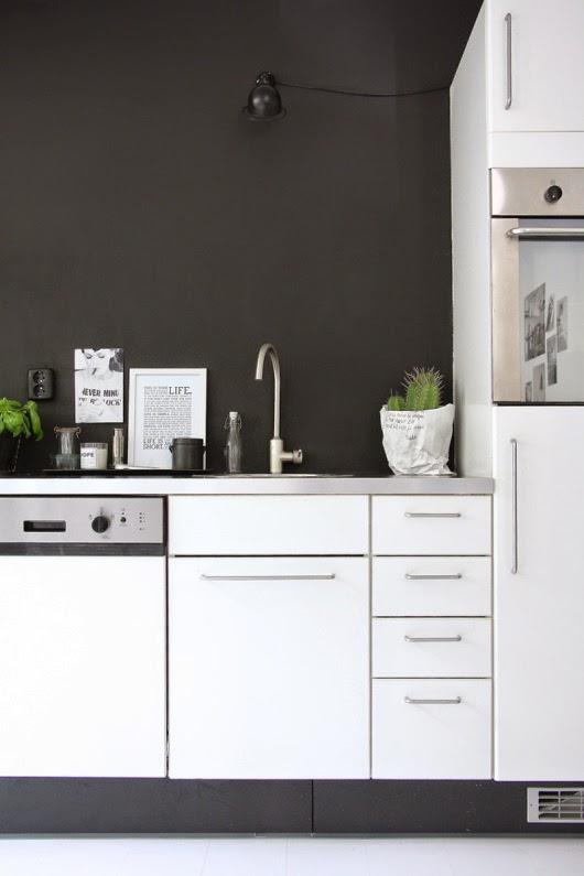 Black toe kick with white kitchen cabinets