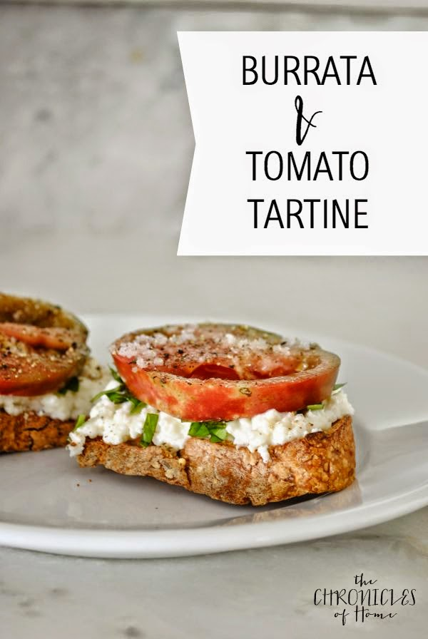 Burrata, tomato, and basil tartine sandwich - easy and delicious breakfast, lunch, or appetizer!