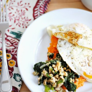 {Paleo / Whole 30 Breakfast} Sweet Potato Puree, Sausage, Spinach, and an Olive Oil Fried Egg
