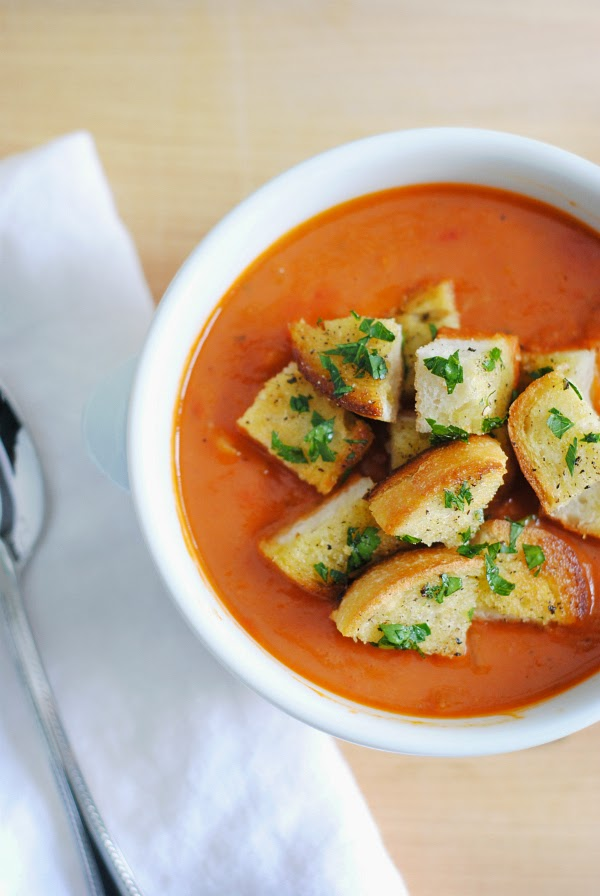 White Bean and Tomato Soup with Garlic Bread Croutons