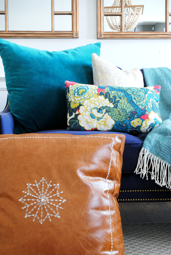 DIY Moroccan Leather Pouf The Chronicles Of Home Classy Turquoise Moroccan Pouf