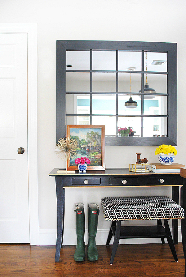 Spring home tour + DIY windowpane mirror