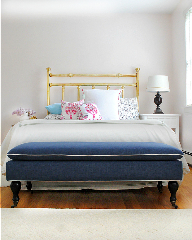 Navy blue, pink, gold, and black girl's room