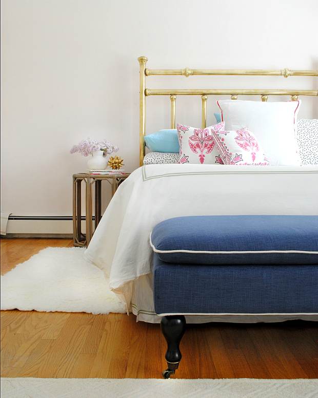 Ageless color palette - navy blue, pink, gold, and black girl's room