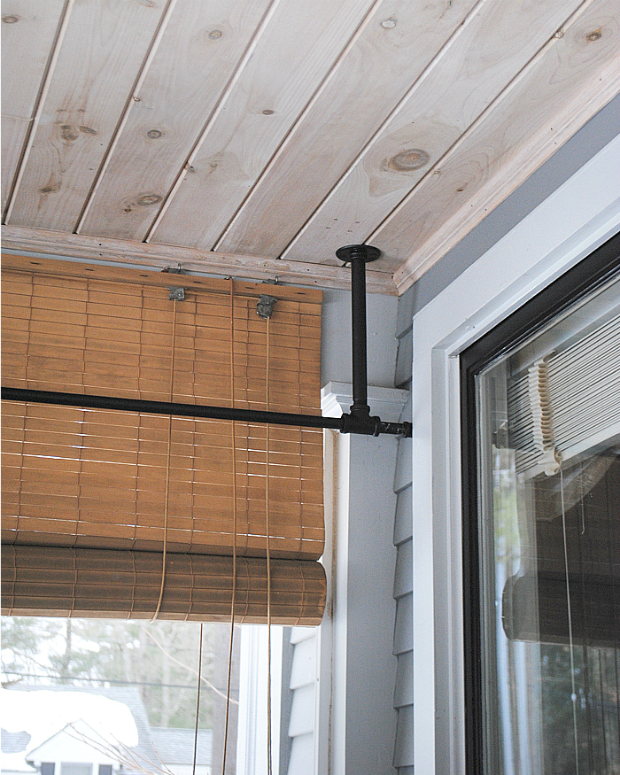 DIY galvanized pipe corner curtain rod6