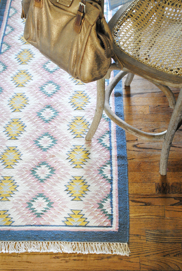Colorful kitchen runner with navy blue, pink, and yellow