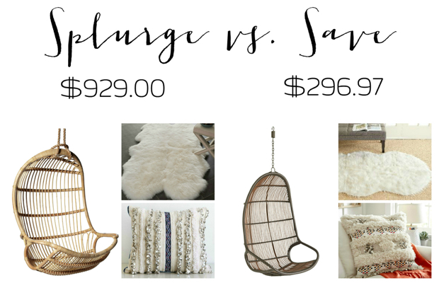 Amazing Splurge And Save Options For Hanging Rattan Chairs, Sheepskin Rugs, And  Moroccan Wedding Blanket