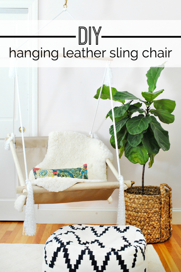 easy to follow tutorial for making a hanging leather sling chair  diy hanging hammock chair   the chronicles of home  rh   thechroniclesofhome