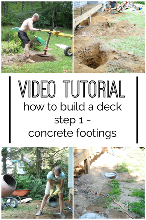 Video how to build a diy deck concrete footings the for First step in building a house