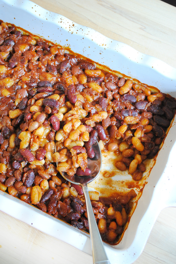 Rich, creamy, sweet, salty, bacony homemade baked beans. The BEST baked beans. And a cinch to make.