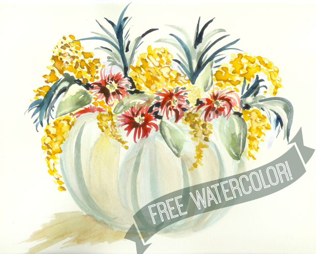 FREE fall watercolor painting of a Cinderella pumpkin that you can print out yourself at home!