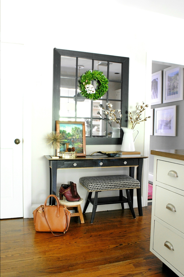 The Chronicles of Home fall home tour - boxwood wreath, cotton branches, farmhouse windowpane mirror