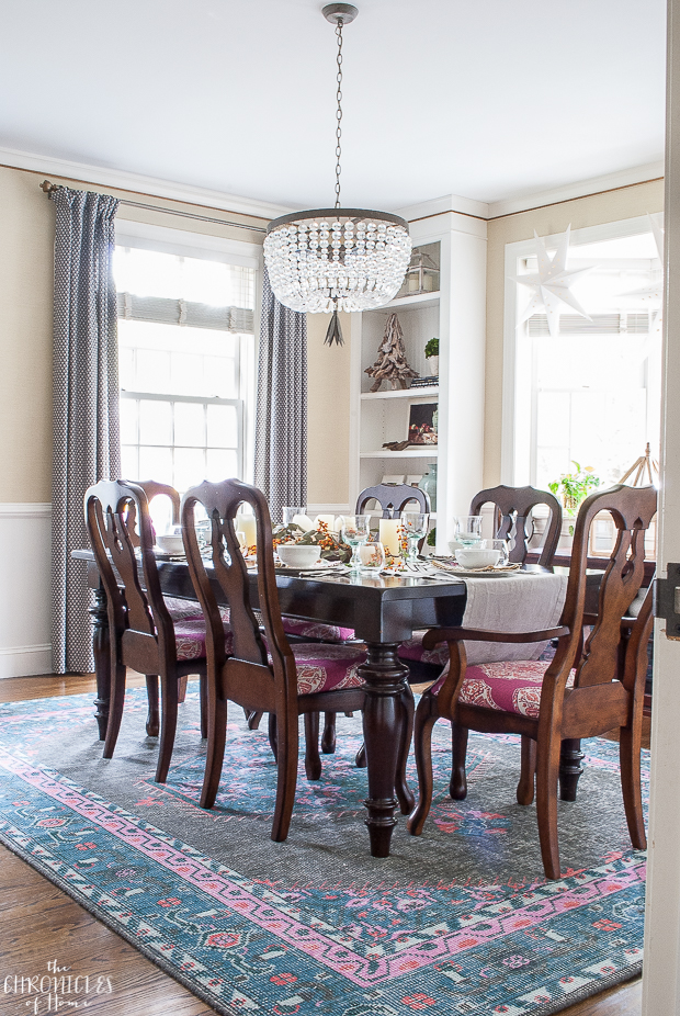 Modern-traditional pink and navy dining room