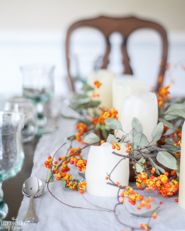 The easiest fall centerpiece with bittersweet branches and eucalyptus