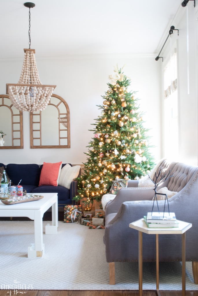 Festive but simple Christmas living room. Modern yet classic with touches blush, coral, and dark green.