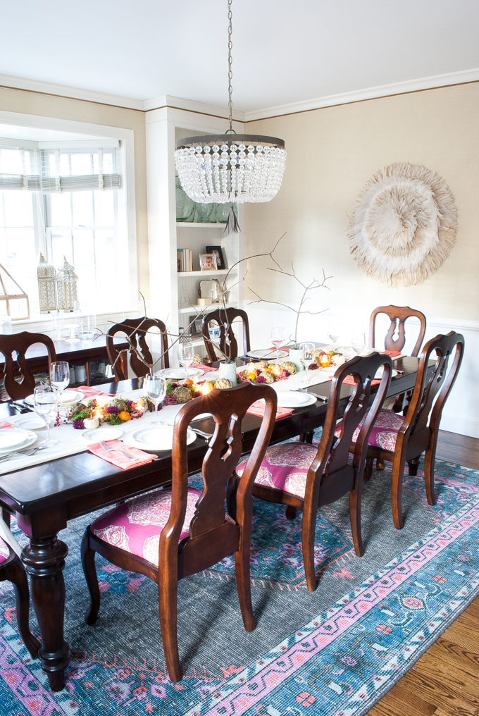 A jewel toned Thanksgiving tablescape