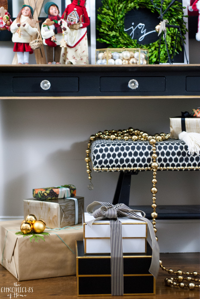 Black, white, and gold glam Christmas