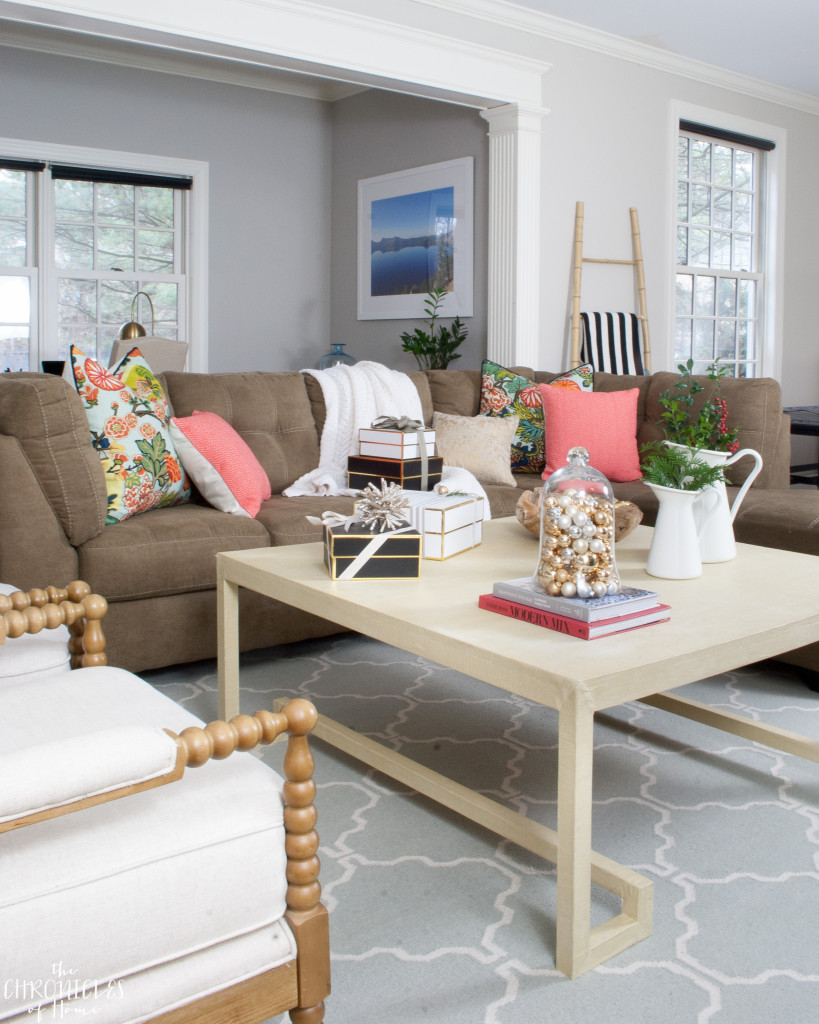 A casual family room decorated simple for Christmas
