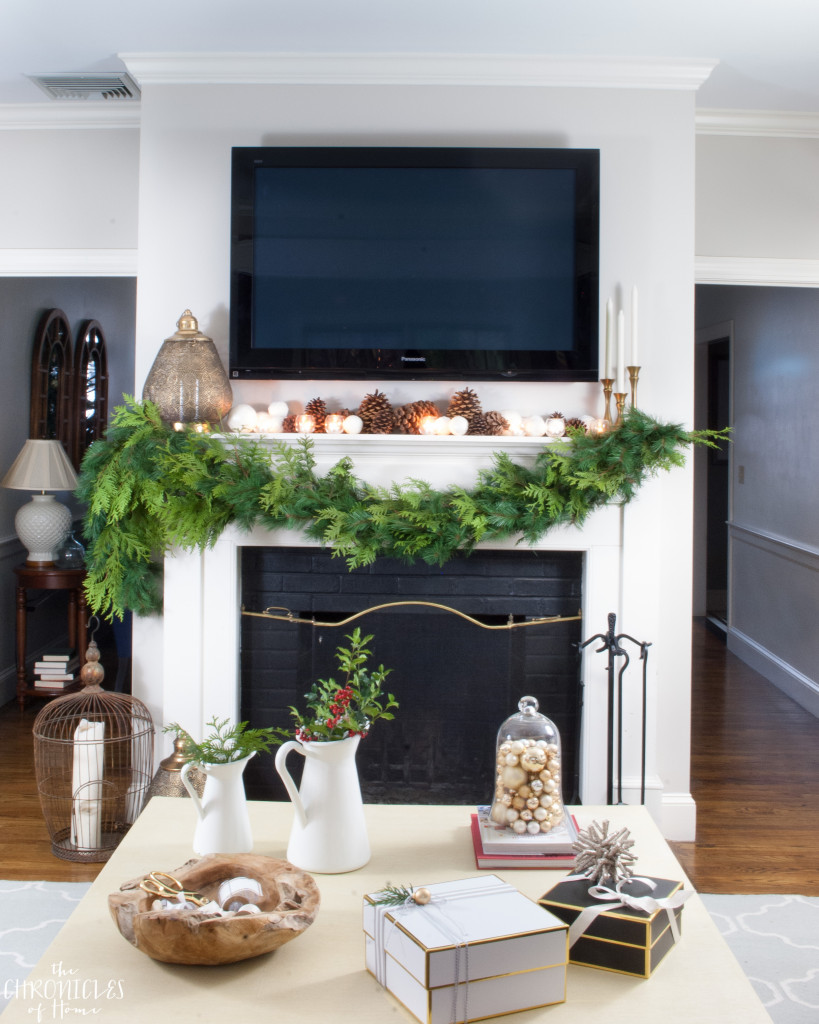 A thick, lush, striking garland made from a mix of faux and real greenery