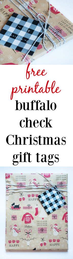 Free printable Christmas gift tags - download and print these buffalo check gift tags for FREE!