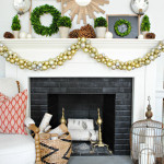 gold and boxwood Christmas mantle-1