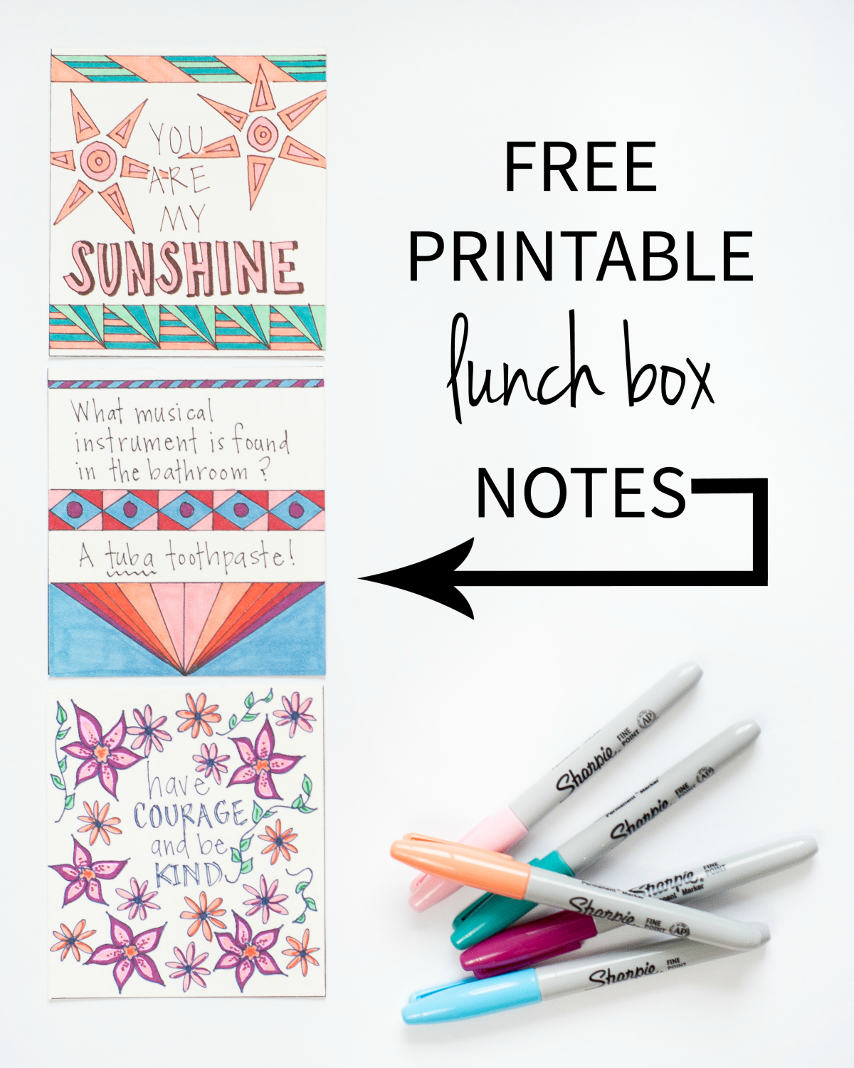 Free printable lunch notes that you can color in yourself. The jokes would be great for kids to color and include in party favor bags too!