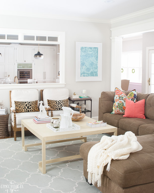 Neutral family room with pops of color. Updated classic.