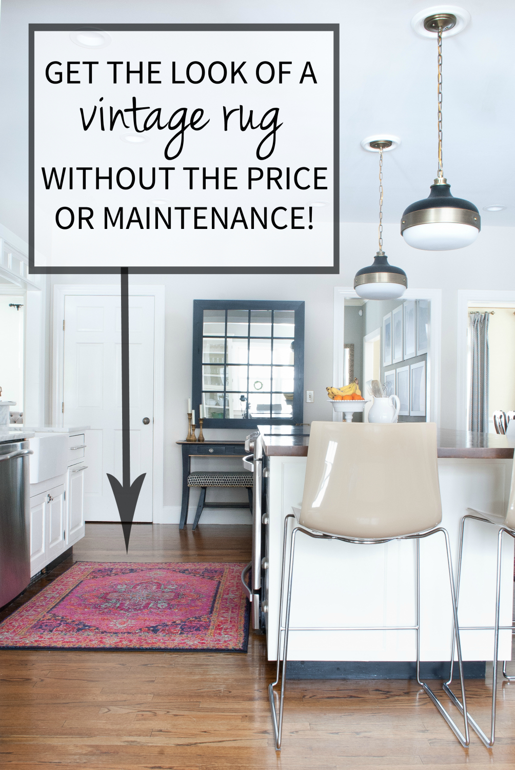 Get the look of a vibrant vintage rug in the kitchen without the price tag, worry, or maintenance!