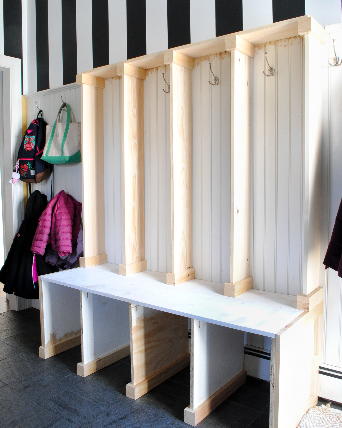 DIY mudroom lockers / cubbies made with plywood and pine boards