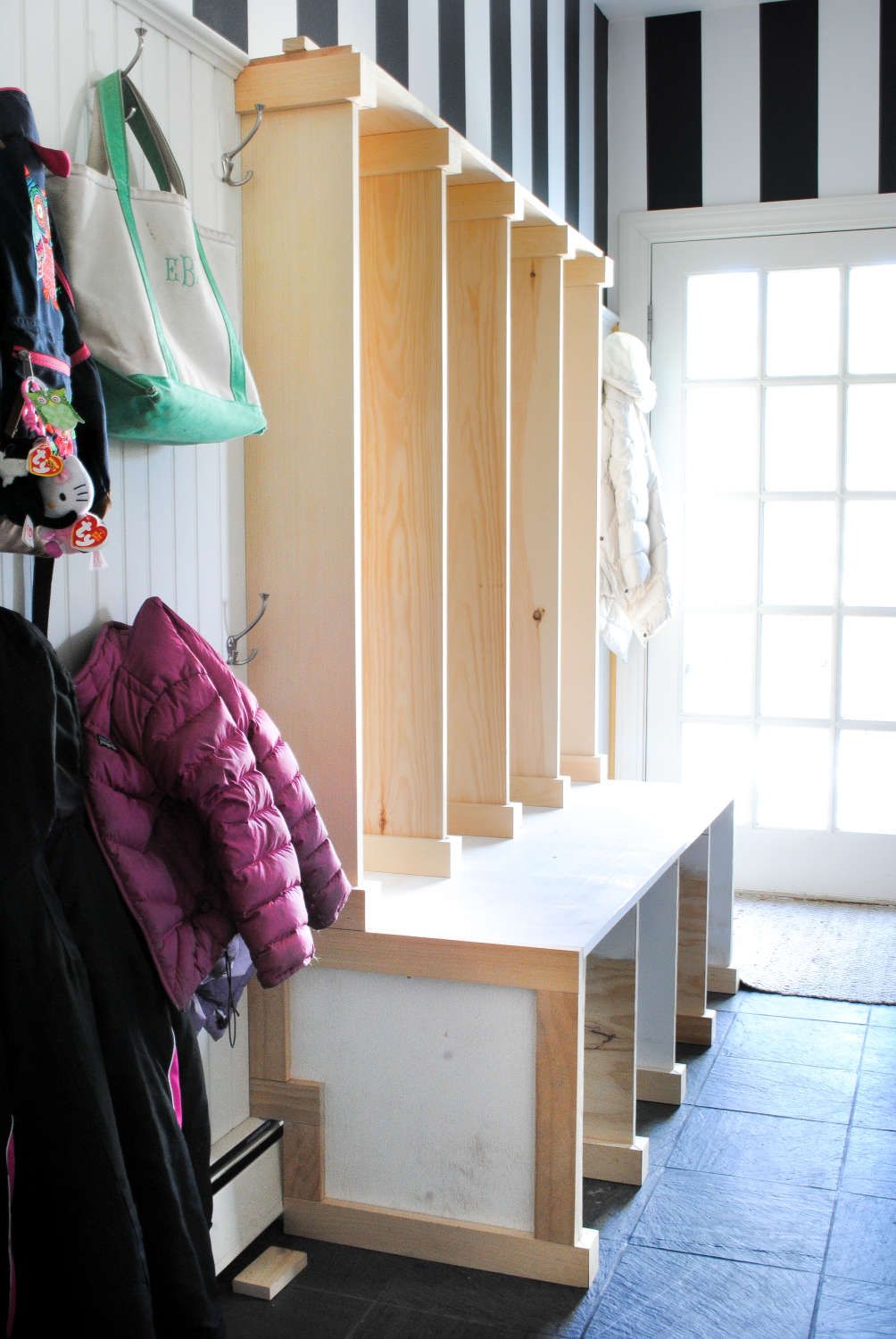 Diy Mudroom Lockers Cubbies Made With Plywood And Pine Boards