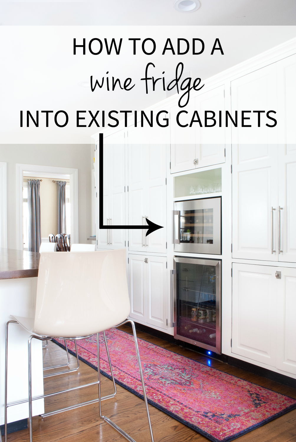 Adding a built in wine fridge in the kitchen the for Add drawers to kitchen cabinets